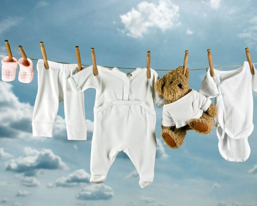 Детское белье на сушке
