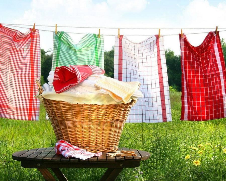Вафельные полотенца на сушке