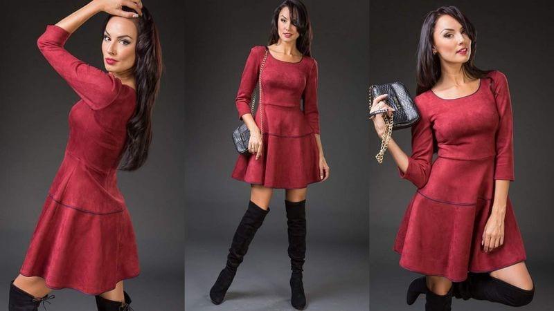 Платье из замши бордового цвета